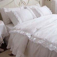 Shabby and Elegant White Lace/ruffle Duvet Cover Bedding Set,queen size
