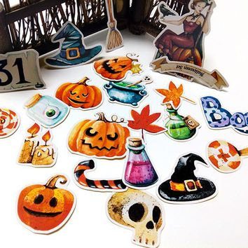 22pcs  Self-made handbook stickers cute kawaii halloween stickers funny decorative stickers scrapbooking DIY craft photo albums