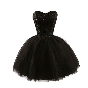 Black Lace Short Cocktail Dress 2017 Little Black Robe De Soriee Mini Ball Gowns Short Graduation Dresses