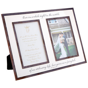 "Once In A While Life Gives You A Fairytale, Double 5""x 7"" Copper & Glass Photo Frame"