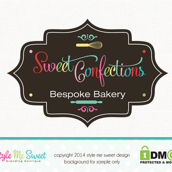Bakery Logo Design Whisk Logo Design Premade Logo Design Small Business Hand Drawn
