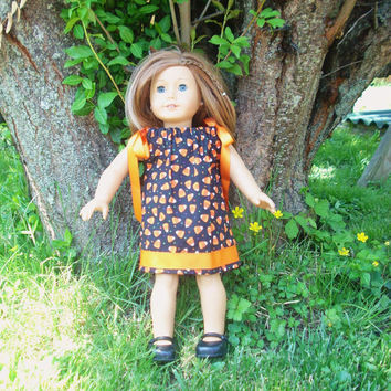 American Girl Doll Clothes, Halloween Pillowcase Dress, Candy Corn, fits 18 inch Dolls