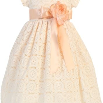 Girls Peach Floral Tulle Lace Dress w. Flower Accent 2T-7