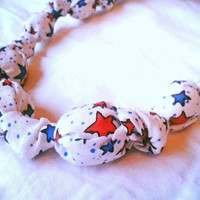 Red white & blue stars fabric teething necklace, nursing necklace, breastfeeding necklace, patriotic, earth friendly, babywearing gift