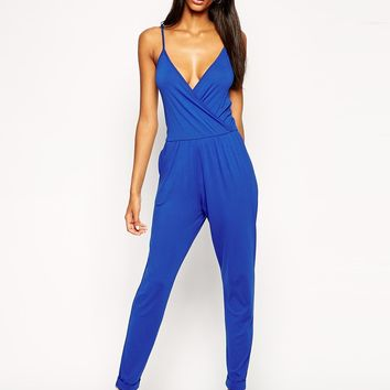 ASOS Wrap Plunge Jersey Jumpsuit With Cami Straps