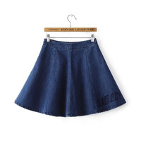 Blue Denim Letter Embroidery Mini A-line Pleated Skirts
