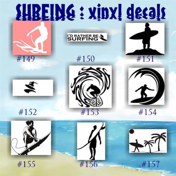 SURFING vinyl decals - 149-157 - vinyl stickers - car window decal - personalized stickers - surfer - surfer girl - car decals
