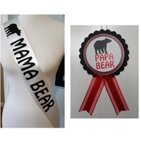 Mama Bear Baby Shower Sash & PaPa Bear Pin to wear at Baby Shower or Baby Sprinkle, with a Rhinestone Pin