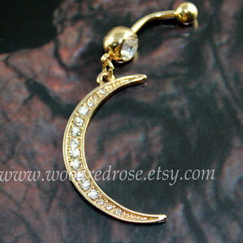 Gold moon belly ring,moon belly button jewelry,moon navel ring,Crescent Moon Jewelry, piercing belly ring,friendship piercing bellyring