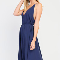 Sleeveless V-Neck and V-Back Tie Waist Midi Dress - Navy Blue