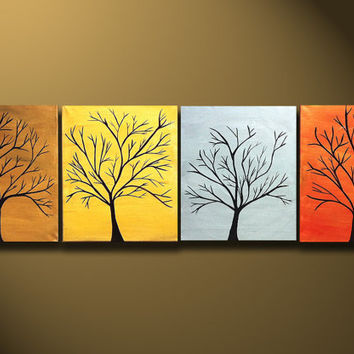 Large Tree Painting for Sale Four Canvases Modern by OritArt