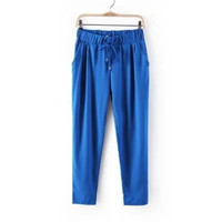 SIMPLE - Popular Fashionable Chiffon Everyday Wear Extra Plus Size Long Pants b2336