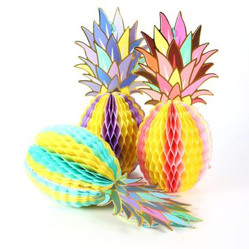 3-Count Foil Gold Paper Hanging Honeycomb Pineapple Decor