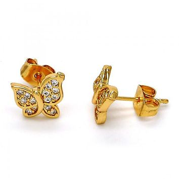 Gold Layered 02.260.0013 Stud Earring, Butterfly Design, with White Micro Pave, Polished Finish, Golden Tone