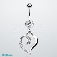 Sensual Heart Multi-Gem Belly Button Ring