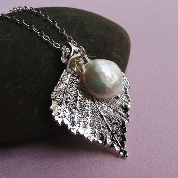 Leaf & Pearl Necklace, Sterling SIlver Birch Leaf, freshwater pearl or birthstone, Bridesmaid Gifts, fall winter wedding