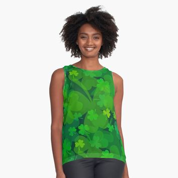 'Lucky Shamrock - Clovers all Over' Contrast Tank by DesignCats