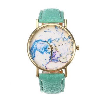 Women's Leather Watch Map Leather Vintage Watch