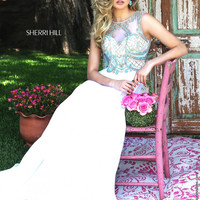 Sherri Hill 50160 Beaded Bodice Floor Length Chiffon Prom Dress – Off White by Bridal Expressions