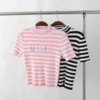 Knitted Sporty Striped Top