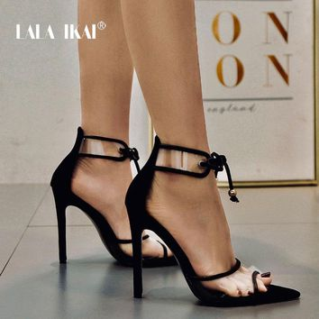 LALA IKAI Women Sandals Lace-Up Summer Thin Heel Pointed Toe Sexy PVC Patchwork Party Shoes High Heels Sandalia 014C3424-4