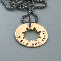 My Sun and Stars - Game of Thrones - Hand Stamped Brass and Sterling Sivler - Stainless Steel Chain