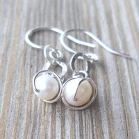 925 Sterling Silver Wire Wrapped Fresh Water Pearl Dangle Earrings | pavlos - Jewelry on ArtFire