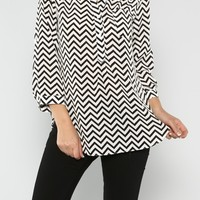 Chevron Shirt Tunic - Black