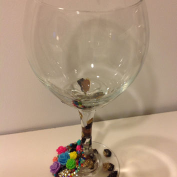 Leopard Print Glass, Custom Glass, Wine Glass, Hand Painted, Rose Wine Glass, Wedding Decoration, Personalized Wine Glass, Party Favor, Gift
