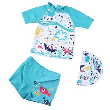 2018 Summer Boys Swimsuits UV Bathing Suit Two Pieces Separates Rash Guards Baby Toddler Boy's Swimming Suit Children Swimwear