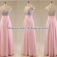 2015 Prom Dress,Pink Prom Dress, custom prom dress,,Pink Chiffon Prom Dress/Evening Dress/Pink Bridesmaid Dress/A076