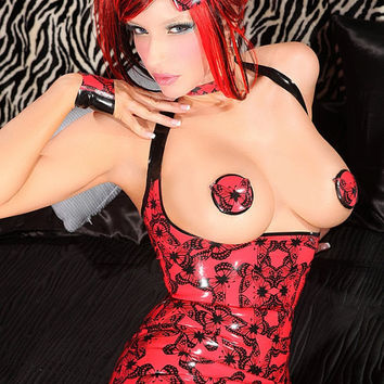 Red Butterfly print latex dress by VEnus Prototype