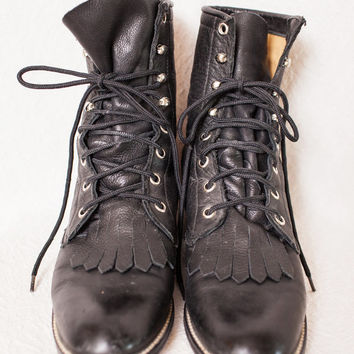 Vintage Diamond J Boots, Black Leather Women's Boots, Women's Distressed Black Leather Size 6 Roper Boot, 6 Lace-Up Boots