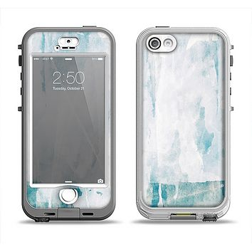 The Teal and White WaterColor Panel Apple iPhone 5-5s LifeProof Nuud Case Skin Set