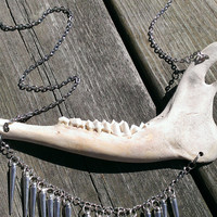 Steam punk Jaw Bone Necklace - Real animal Bone Jewelry - Wiccan Pagan Jewelry - Shamans Necklace