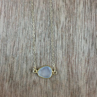 14k gold filled necklace with a 24k gold vermeil moonstone bezel connector / bridesmaid / dainty / minimalist / October birthstone