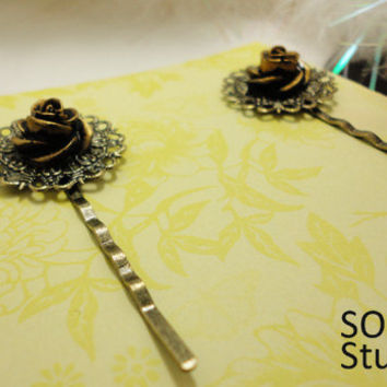 Victorian style Resin Rose Long Hair pins