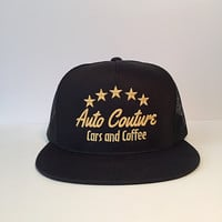 Auto Couture cars and coffee snapback trucker hats