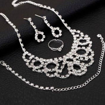 ZOSHI Luxury Cubic Zirconia Bridal Jewelry Sets Crystal Female Party Jewelry Silver Plated Necklace Earrings Bracelet Ring Sets