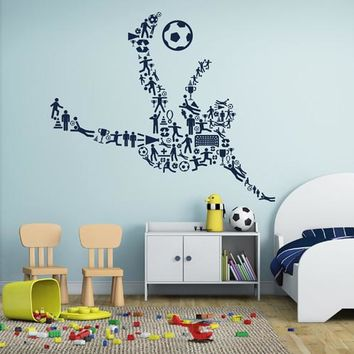 ik2574 Wall Decal Sticker Footballer soccer ball sport room children's bedroom