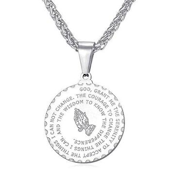 AUGUAU U7 Bible Verse Prayer Necklace with Free Chain Christian Jewelry Stainless Steel Praying Hands Coin Medal Pendant