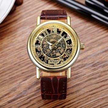 Retro Vintage Brown Leather Watch Christmas Gift