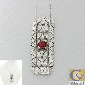 1920s Antique Art Deco Solid Platinum 4.08ctw Ruby Diamond Pendant Necklace