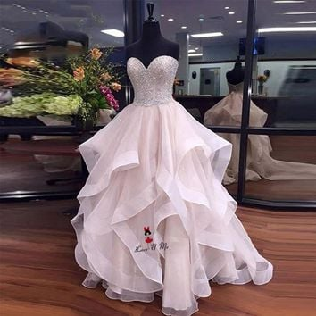 Vestido de Formatura Pink Luxury Beaded Prom Dresses Long 2018 Ruffles Organza Ball Gown Evening Party Gowns Quinceanera Sweet