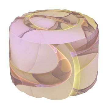 Abstract Motions, Modern Light Pink Yellow Fractal Pouf