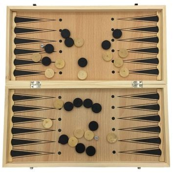 Chess & Checkers & Backgammon 3 in 1 Chess Set Folding Chessboard Board Size 29 cm x 29 cm Chess Wooden Gifts For Kids & Student