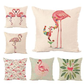 Flamingo Series Pillow without inner Cartoon Cute Pink Fashion Quality European Style Linen Material Decorative seat car chair