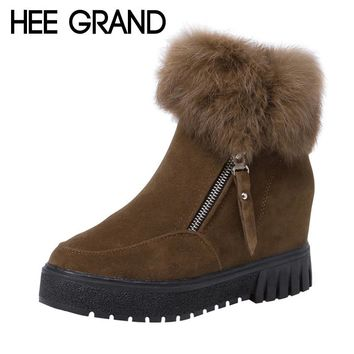 HEE GRAND 2017 New Increased Inside Winter Women Ankle Boots Faux Fur Creepers Casual Shoes Woman Women Platform Shoes XWX6267