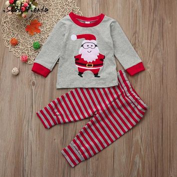 Kids Toddler Girl Boy long sleeve Cartoon Christmas Santa print Tops+Stripe Pants Outfits Clothes Set winter suit cotton costume
