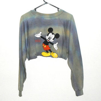 "Vintage Tie Dye ""Free Hugs"" Mickey Mouse Crop Top Crewneck Sweatshirt"